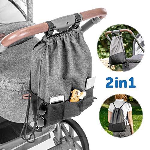 Zamboo Borsa passeggino leggera universale - Organizer per passeggino con ganci per maniglione - Zainetto fasciatoio attaccabile - Grigio e nero