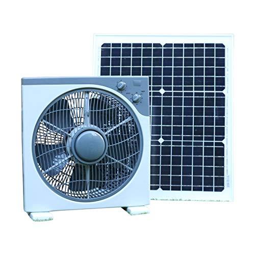 PK Green Ventilador Solar 12V con Panel Solar 20W para Caravana, Invernadero, Coche, Camper, Barco | Ventilador 12V Solar CC Portátil Exterior para Casa, Camping | 39 x 38 cm