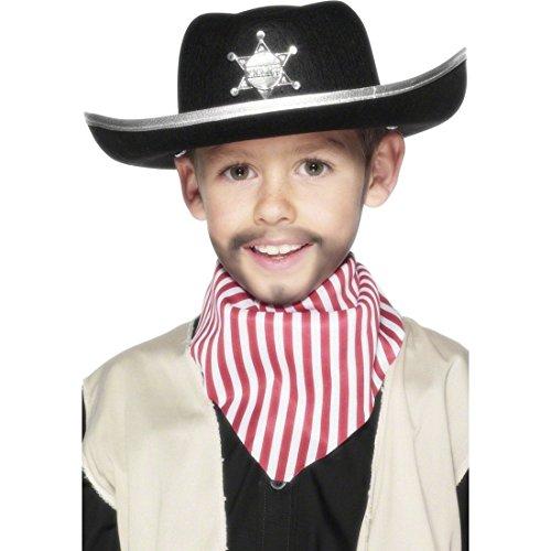 NET TOYS Chapeau shérif Enfant Chapeau de Cowboy Noir pour Enfant Chapeau de Cowboy pour Enfant Chapeau Cowboy Chapeau de shérif Chapeau de Western Accessoire déguisement