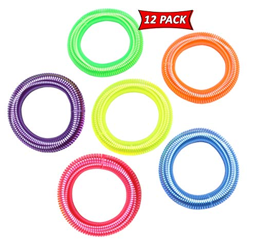 Neon Spring Bracelets For Party Favors And Prizes - Neon Bracelets In Assorted Neon Colors - Elastic Coil Bracelets For Kids (12)