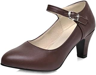 Veveca Women Retro Pointed Toe Buckle Strap Leather Mid Heel Dress Shoes Mary Jane Oxford Pump Shoes