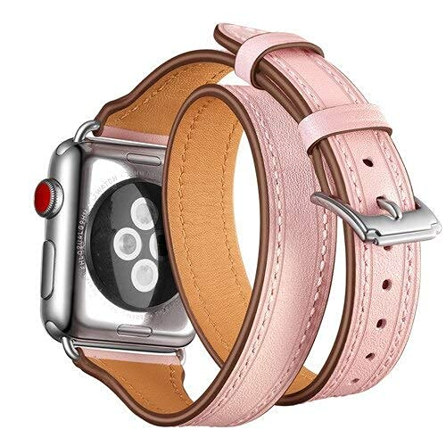 DIY Watch Band Strap for Apple 42mm 38mm 3 2 1 iWatch Double Tour Genuine Leather watchband Bracelet Loop Wrist Belt+Metal Buckle - Pink - 38mm Watch Strap (Color : Pink, Size : 38 mm)