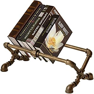 MyGift Decorative Industrial Pipe Design Cast Iron Tabletop Book Rack