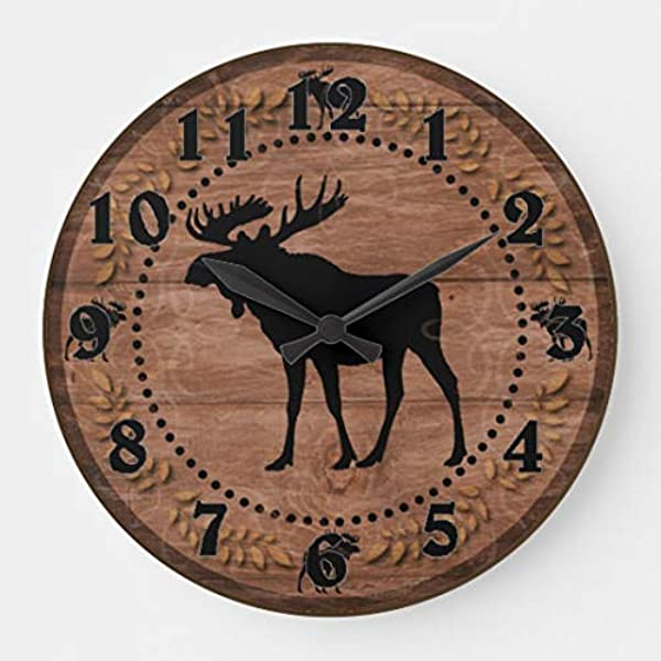 Rustic Wooden Moose Circle Wall Clocks Battery Operated Wooden Clock Decorations For Kitchen 10 Inches