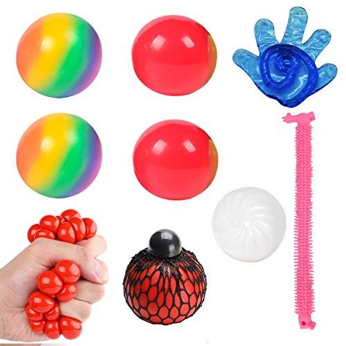 YIFKOKO 8 Stück Kawaii Anti Stress Spielzeug Set Anti-Stress-Bälle Duftende Squeeze Spielzeug Bunte Stretch String Mochi Tierisch Toys für Kinder Erwachsene