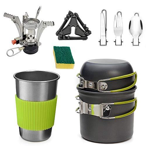 IWILCS Camping Cookware Kit, Set di stoviglie da Campeggio, Pentole portatili, Pentole per pentole da esterno, per picnic escursionistico allaperto, set cucchiaio coltello forchetta