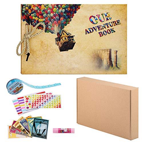 ZUNTO Album Fotografico Fai da Te, Our Adventure Book Scrapbook Album Foto(19x30cm, 80 Pagine), Fascia Decorativa in Pizzo, Adesivi - Regalo di Compleanno/Laurea/Nozze