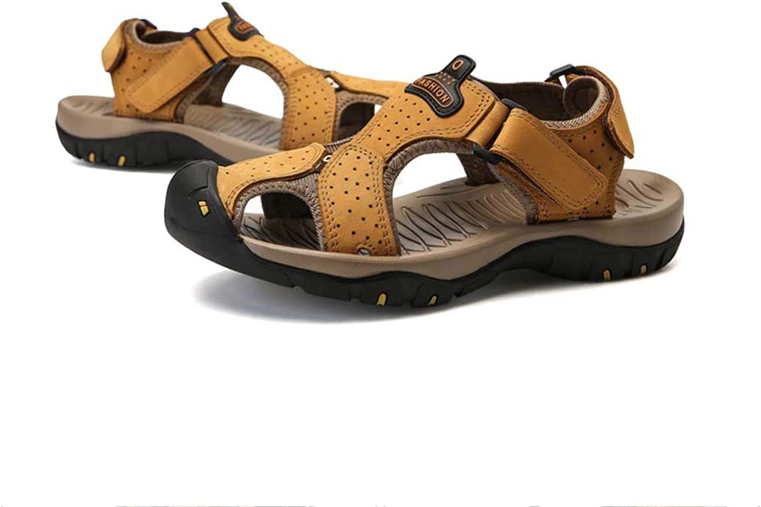 Summer Leather Sandals Man's Closed-Toe Beach Sandals Outdoor Hollow Out Casual shoes
