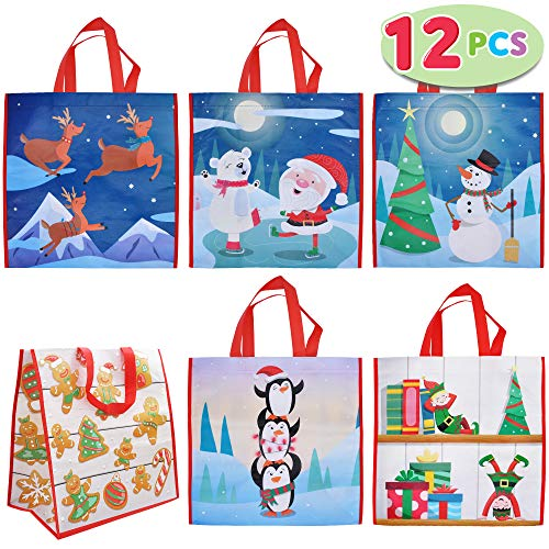 "12 PCs Christmas Large Tote Bags 13.75"" X 14"" Holiday Reusable Grocery Bags for Classroom Party Favor Supplies, Christmas Shopping Bags, Xmas Party Supplies Bags."