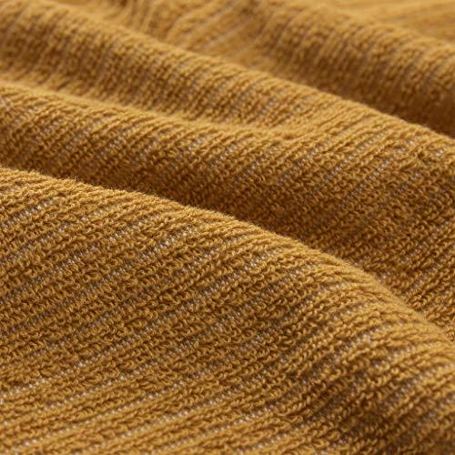"""URBANARA Handtuch """"Louzela"""" – 70cm x 140cm, Senfgelb/Weiß, 100% Bio-Baumwolle – Händetuch, Badetuch"""