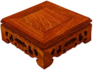 RYH Oriental vase Stand- Furniture Rosewood Pedestal Display Stand,Hand Carved, Square Shape, Chicken Wing Wood JiChi Display Base Holder for Home Decoration(Size 3.9 inches)