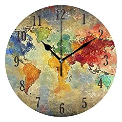senya Round Colorful World Diversity Map Wall Clock Battery Operated Accurate Sweep Movement,Decorative for Living Room, Bedroom, Office