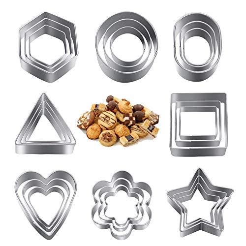 Moldes de Galletas,24 Piezas Cortadores de Galletas Acero Inoxidable,Mini geométrico Cookie Set de moldes para Galletas,para Decoración de la Torta, Horneado de Galleta