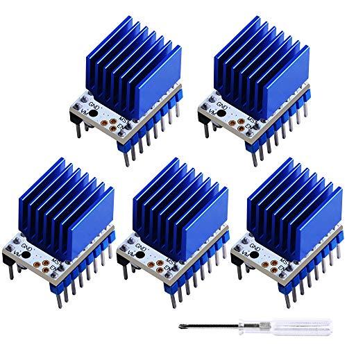GeeekPi 5 Pack 3D Printer TMC2208 Stepper Motor Driver,TMC2208 V1.2 Stepper Driver Module Carrier with Heat Sink for 3D Printer Controller Mother Boards Reprap Ramps1.4 MKS Prusa i3 Ender-3 Pro