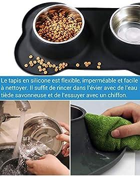 NICREW Gamelle Double pour Petit Chien et Chat, Gamelle en Acier Inoxydable Antidérapante Antidébordement et Antidéversant, Bol Double INOX avec Tapis en Silicone (2 x 300ML)