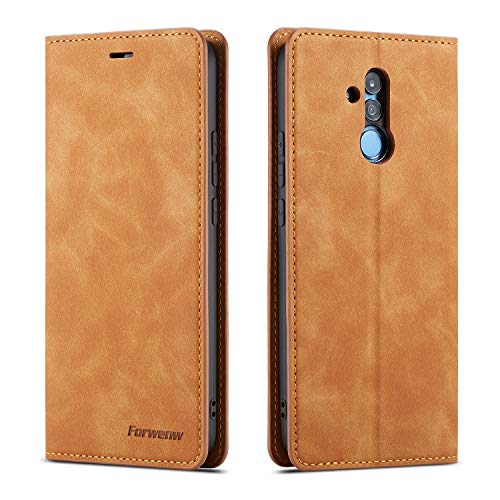 QLTYPRI Hülle für Huawei Mate 20 Lite, Premium Dünne Ledertasche Handyhülle mit Kartenfach Ständer Flip Schutzhülle Kompatibel mit Huawei Mate 20 Lite - Braun