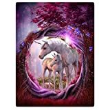Blankets Fleece Blanket Throw for Sofa Bed Unicorn Horse Magical Animal Rose Red Tree 60' x 80'