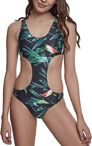 Urban Classics Damen Ladies Tropical Monokini, Mehrfarbig (Leaf 01299), 38 (Herstellergröße: M)