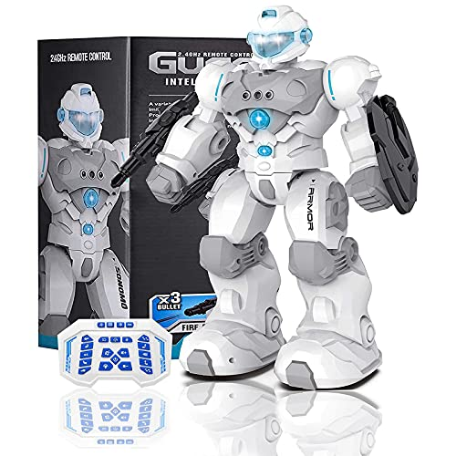 Masefu RC Robot Gift, Larger Robot Toy for Kid Programmable Gesture Sensing Fighting Robot, USB Charging Tech Dance Sing Walk Shoot Robot with Light Music, Birthday Present for Boys Girls 4+ Years