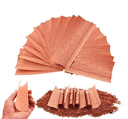 QBOSO 20PC Cedar Sheets for Cigars Humidor, A Must Choice ForDividing orLighting Up Cigars, Spanish Cedar Wood Veneer Lumber Strip Chip, Cigar Accessories for TubeJar/Box