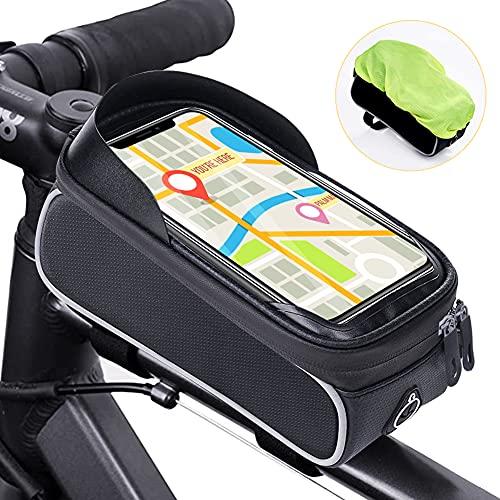 Bolsa Táctil de Tubo Superior Delantero,RANJIMA Bolsa para Cuadro de Bicicleta,Bolsa para Bicicleta Soporte Impermeable,Bolsa para Bicicleta montaña,con Orificio Auriculares para Teléfono Inteligente
