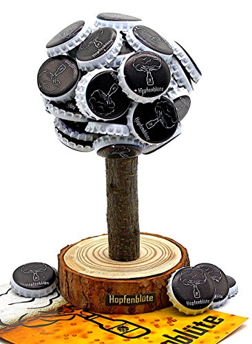 HOPFENBLÜTE ® - Magnetbaum Holz – Männer Geschenk Geburtstag - Partygeschenk - Bis zu 60 Kronkorken – Magnetbaum - Bier