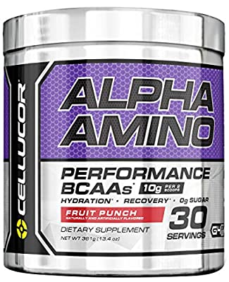 Cellucor Alpha Amino Acids Supplements with BCAA Powder, Fruit Punch, 13.54 Ounce 30 Servings