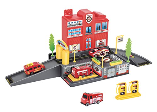 Liberty Imports Fire Station Parking Garage Toy Playset with 4 Rescue Vehicles,...