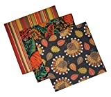 "Thanksgiving Autumn Harvest Bandana Pack Pack of (3) Bandanas: Thanksgiving Turkey, Acorns & Pumpkins, Fall Stripes Bright, colorful. Perfect for crafts, fashion, decorating or quilting. 22"" X 22"", Wash Before Using Cotton or Cotton/Poly Blend"
