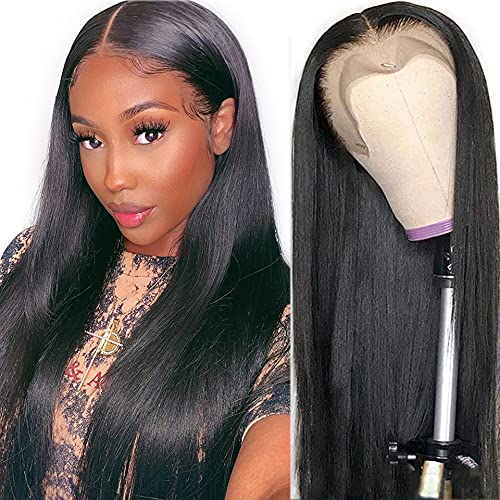 Sdamey HD Transparent 13X4 Straight Lace Front Wigs for Black Women Brazilian Virgin Human Hair Wigs with Baby Hair Pre Plucked Lace Frontal Wigs 150% Density Natural Color (18 Inch)