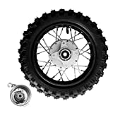 Niome 10 Inch 2.5-10 Rear Wheel Tire with 1.4 x 10 Rim and Drum Brake With 12mm Bearing for 50cc Dirt Pit Bike, ATVs, Black (10 Inch 2.5-10 Rear)
