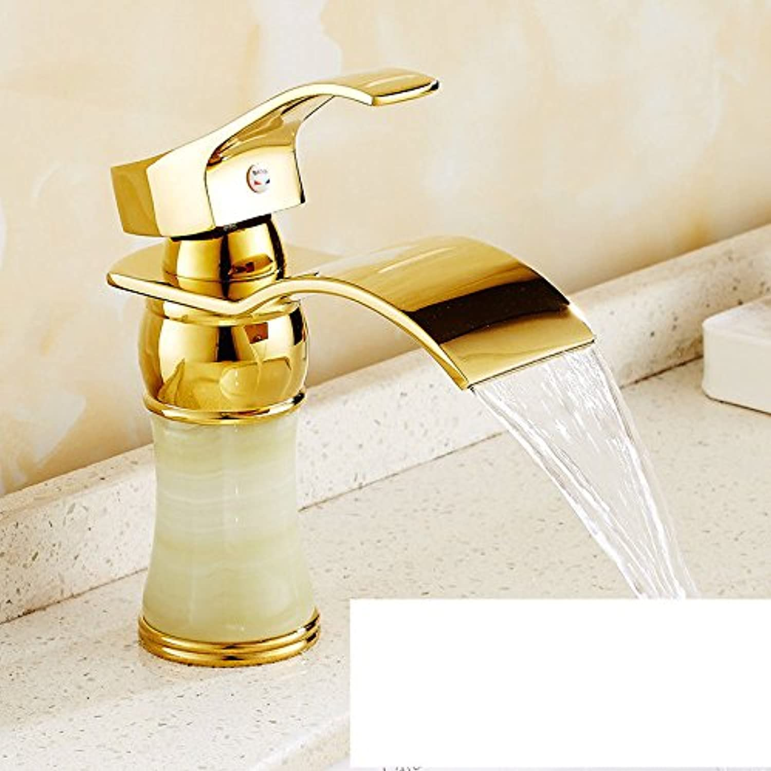 Lalaky Taps Faucet Kitchen Mixer Sink Waterfall Bathroom Mixer Basin Mixer Tap for Kitchen Bathroom and Washroom Copper Hot and Cold Antique Waterfall gold