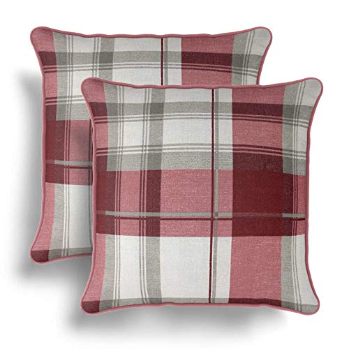 IT IDEAL TEXTILES Set of 2 Red Tartan Cushion Covers, Pair of Ruby Checked Design Cotton Cushion Covers, Piped Trim Cushion Cases, Sofa Chair Throw Pillow Cases, 17' x 17', 43cm x 43cm