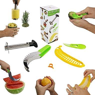 #1 Fruit Slicer Set of 5 by Coogue VALUE PACK: Pineapple Corer, Watermelon Slicer, Avocado Slicer, Banana Slicer, Orange Peeler. Enjoy your cutter knife tools a kitchen gadget to have fun with!