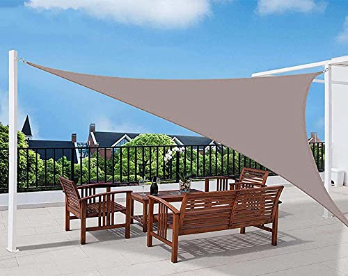 QDY -Vela De Sombra para El Sol Al Aire Libre, 98% Vela De Jardín De Bloque UV, Paño De Sombrilla De Material Triangular 160GSM con Kit De Fijación Toldo para Patio,8 Khaki,3x4x5m