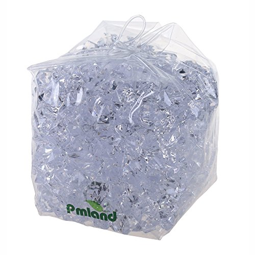 PMLAND Clear Acrylic Ice Rocks Crystals Gems - 1 Inch Length 3 lbs Bulk Bag for Vase Filler Table Scatter Party Wedding Arts Crafts Decoration Display Idea