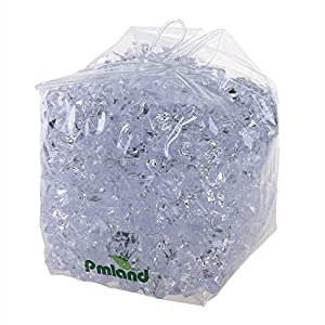 PMLAND Clear Acrylic Ice Rocks Crystals Gems – 1 Inch Length 3 lbs Bulk Bag for Vase Filler Table Scatter Party Wedding Arts Crafts Decoration Display Idea