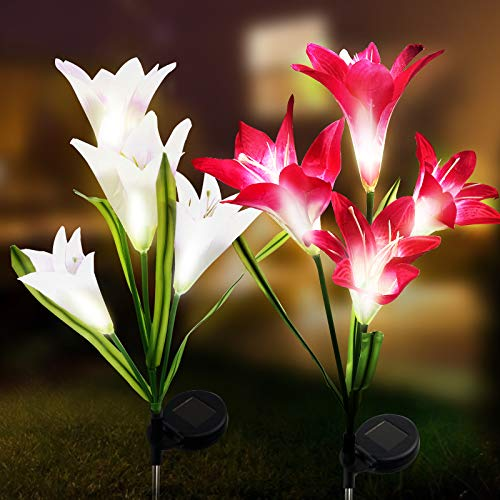 Aogist 2 Pack Outdoor Solar Garden Stake Lights,Solar Powered Lights with 8 Lily Flower (White and Red)