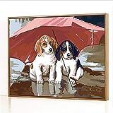 GJJHR DIY Pintura por Números Kits,Dos Cachorros bajo una sombrilla Pintada a Mano Pintura al óLeo Digital, DecoracióN del Hogar Regalo - 40x50cm(Marco de Fotos)