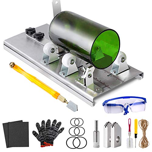 Glass Bottle Cutter Kit, Bottle Cutter DIY Machine with Size Marking for Cutting Round, Square, Oval Bottles and Mason Jars, with Pencil Glass Cutter Tool Kit Safety Glasses Gloves Hemp Rope for DIY