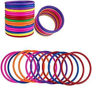 PRALB 18 PCS Plastic Toss Rings Multicolor Toss Rings Random Color Toss Rings for Speed and Agility Practice Games, Carnival, Garden, Backyard, Outdoor Games