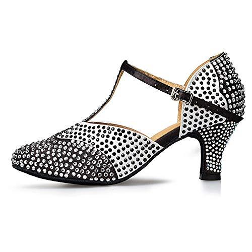 HROYL Niña & Mujer Latin Zapatos Zapatos de Baile Mujer Diamantes de Imitación Zapatos de Baile Latino Mujer Tacon Alto,YCL136-Negro-5,EU40.5