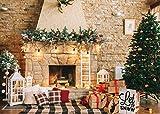DANIU Fondo de fotografía de Navidad Chimenea de Navidad Árboles de Navidad Regalos Decoraciones de fiesta Fondos para fotografía de vacaciones Accesorios de estudio fotográfico