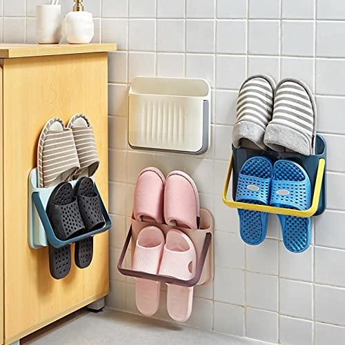 LANGYA 4 Piezas Creative Seamless Wall-Mounted Shoe Rack Home Storage Zapatillas de Pared 3D Estante Zapatos Deportivos de Tacones Altos Estante de Almacenamiento de Zapatos Deportivos