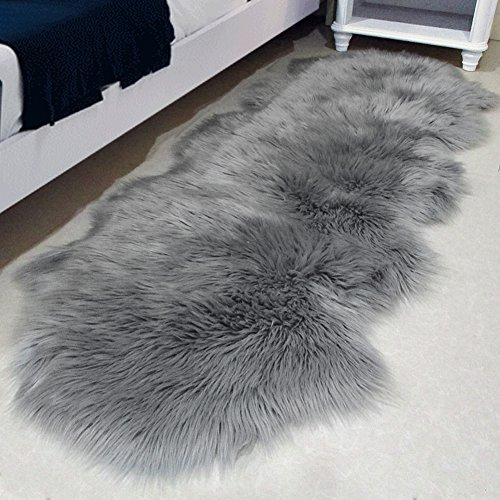 Purple Soft Easy Clean Faux Sheepskin Rug by Lochas