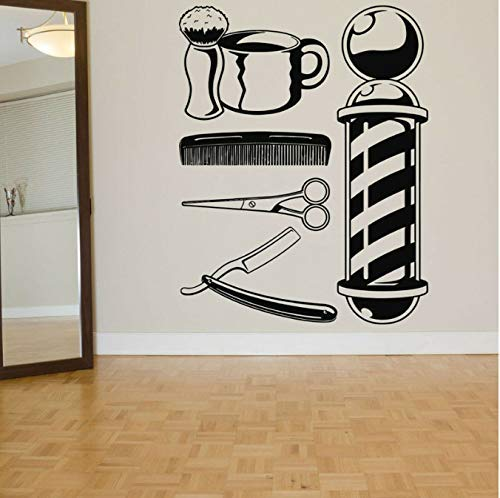 Barber Shop Logo raamdecoratie kapsalon muursticker haarstylist haargereedschap kapsalon beauty salon57 x 64 cm