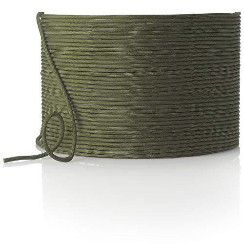 com-four Cuerda de Paracord Ø 4 mm, 25 m - Cuerda con 7 Hilos para Botes, Camping, Exterior - Cuerda de Nailon con Capacidad de Carga de 250 kg - Cuerda de Tienda, Cuerda de sujeción (Verde Oliva)
