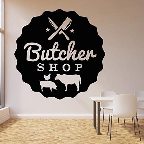 fancjj Metzgerei Wandtattoo Rindfleisch Fleisch Küche Schneidebrett Innendekor Tür Fenster Vinyl Aufkleber Logo Kreative Tapete