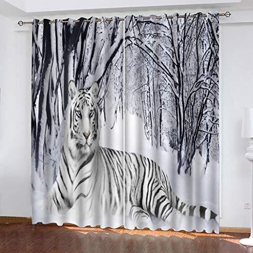 Cortinas Opacas - Impresión 3D Tigre Blanco como la Nieve - Cortinas con Ojales - Reducción De Ruido De Aislamiento, 230(H) x140(An) Cmx2 Paneles/Set