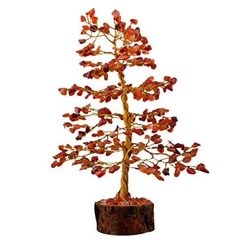 YATHABI Carnelian Gemstone Tree Peaceful Stone Aura Cleansing Emf Protection Fortune Feng Shui Money Bonsai Natural Reiki Healing Crystal Trees for Home Office Decor Good Luck Prosperity Size 10 Inch